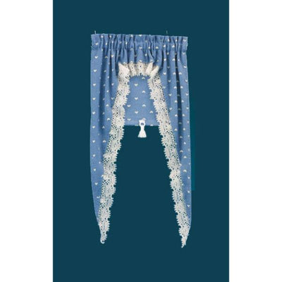Blue heart dollhouse curtain and shade.