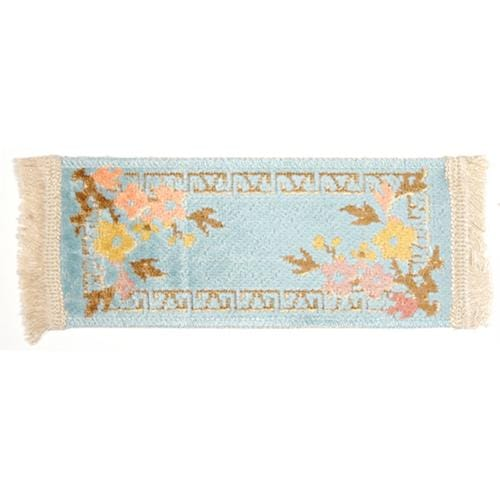 blue dollhouse miniature floral rug