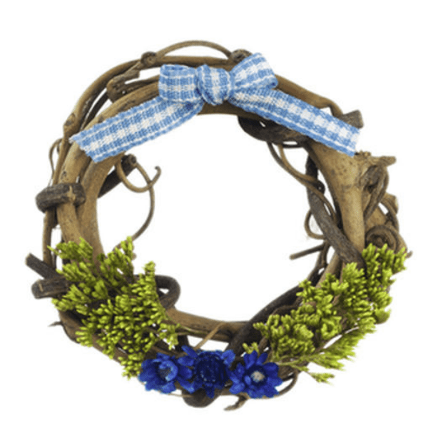blue dollhouse miniature wreath