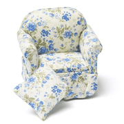 blue floral dollhouse miniature armchair