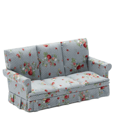 blue floral dollhouse miniature sofa