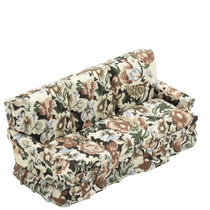 brown floral dollhouse miniature couch