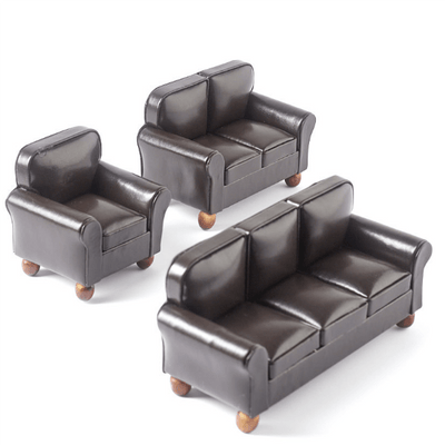 3-Piece Brown Leather Dollhouse Miniature Living Room Set - Little Shop of Miniatures