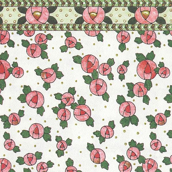 Cottage rose dollhouse wallpaper.