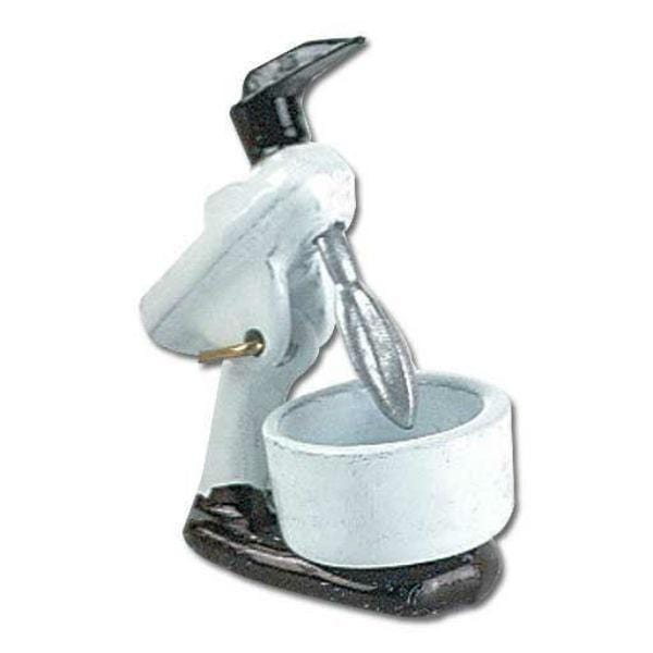 A white and black dollhouse miniature stand mixer.