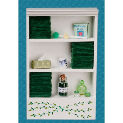 Dollhouse Miniature Dark Green Accented Bath Cabinet - Little Shop of Miniatures