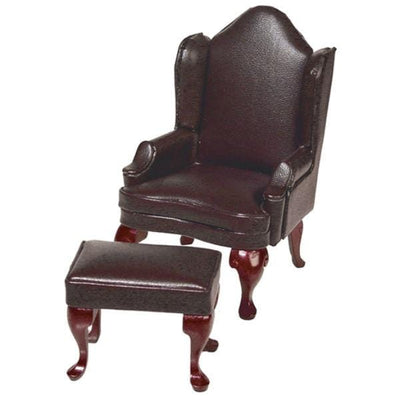 Dollhouse Miniature Brown Leather Wing Chair & Ottoman - Little Shop of Miniatures