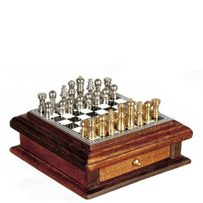 Dollhouse Miniature Walnut Chess Board with Drawer - Little Shop of Miniatures