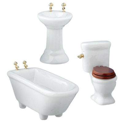 3-Piece Modern Dollhouse Miniature Bathroom Set - Little Shop of Miniatures