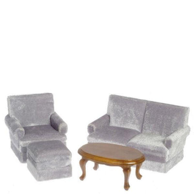 Gray Dollhouse Miniature Living Room Set - Little Shop of Miniatures