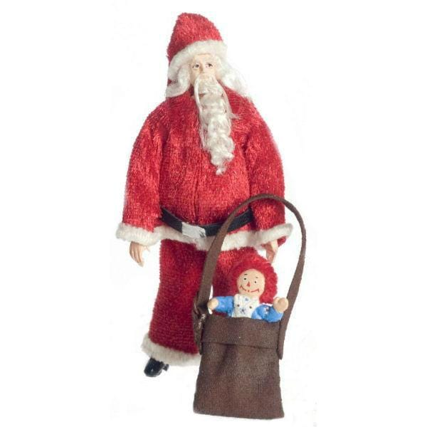 dollhouse miniature Santa with gift bag