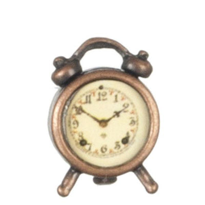 Antique Copper Dollhouse Miniature Alarm Clock - Little Shop of Miniatures