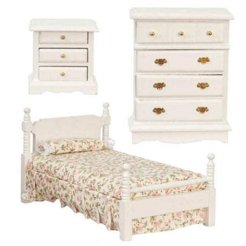 3-Piece White Floral Dollhouse Miniature Bedroom Set - Little Shop of Miniatures