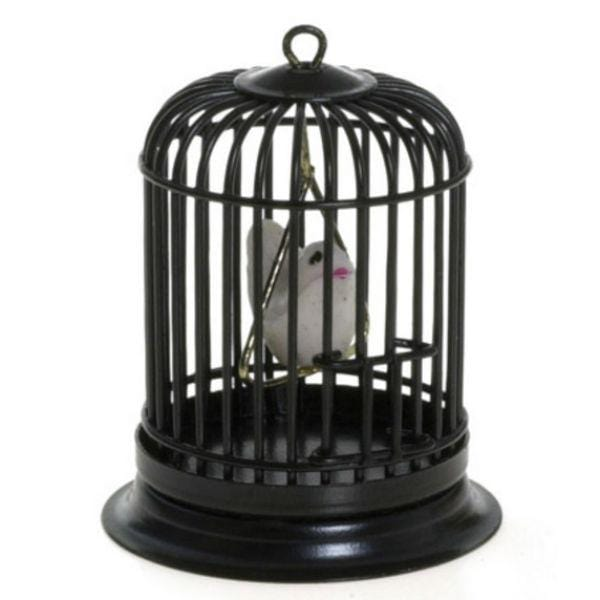 dollhouse miniature birdcage with bird