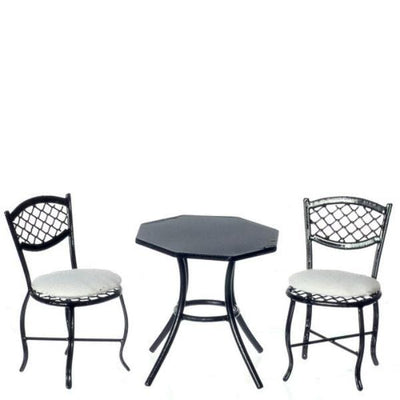 dollhouse miniature black and white patio set