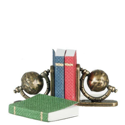 Dollhouse Miniature Small Globe Bookends with Books - Little Shop of Miniatures