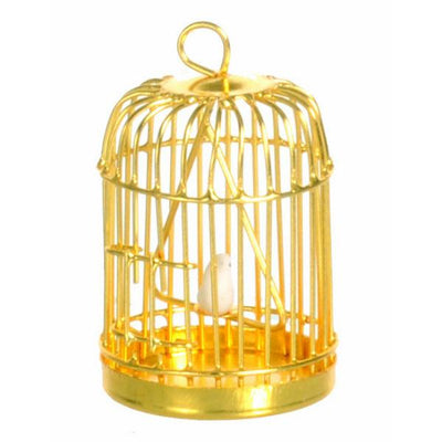 dollhouse miniature brass birdcage with bird
