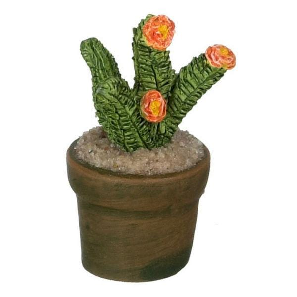 dollhouse miniature cactus with orange flowers