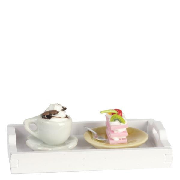 dollhouse miniature cake and coffee