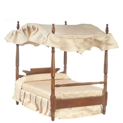 Walnut Dollhouse Miniature Canopy Bed - Little Shop of Miniatures