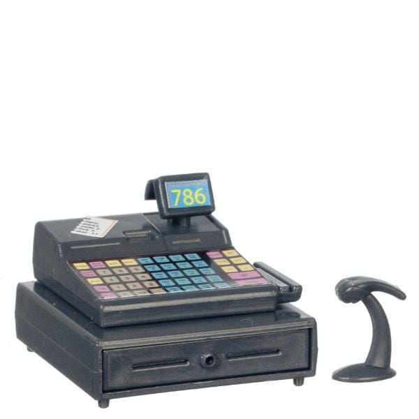 dollhouse miniature cash register with price scanner