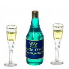 dollhouse miniature champagne bottle with two glasses