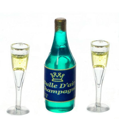 Dollhouse Miniature Champagne with Two Glasses - Little Shop of Miniatures