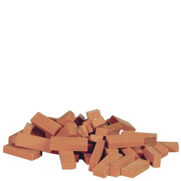Fifty dollhouse miniature clay bricks.