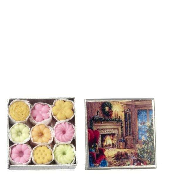 dollhouse miniature cookies in a Christmas tin