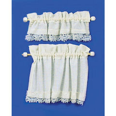Dollhouse miniature cottage curtain.