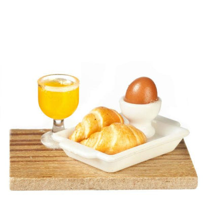 dollhouse miniature croissant juice and egg