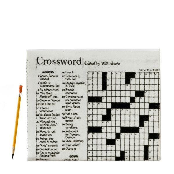 dollhouse miniature crossword puzzle and pencil