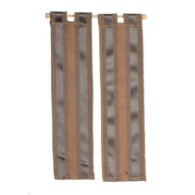 brown stripe dollhouse miniature curtains