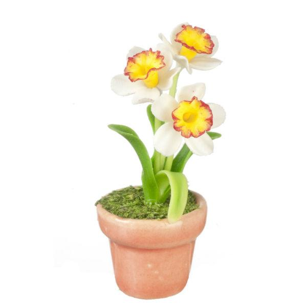 dollhouse miniature daffodils in a pot