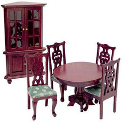 dollhouse miniature dining table and chair and cabinet