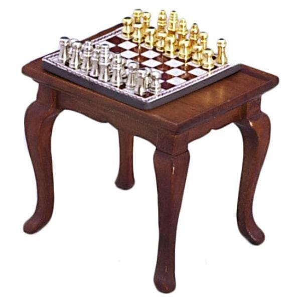 dollhouse miniature end table with chess set