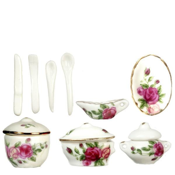 dollhouse miniature floral china set