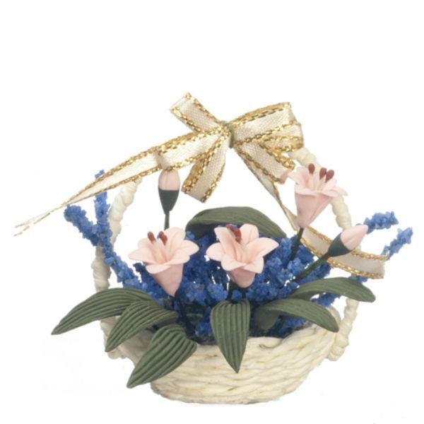 dollhouse miniature flowers in a basket