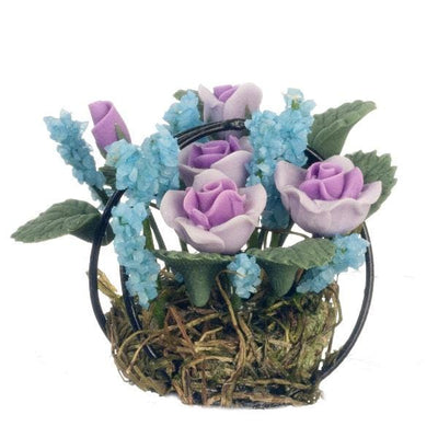 dollhouse miniature flowers in a wire basket