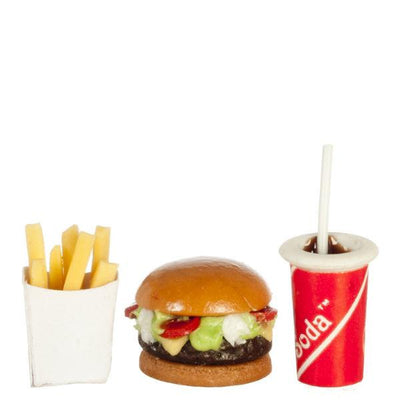 Dollhouse Miniature Hamburger, Fries & Soda Set - Little Shop of Miniatures