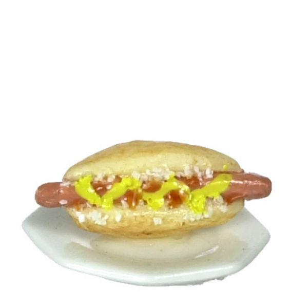 dollhouse miniature hot dog and plate