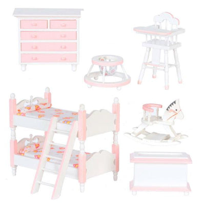 7-Piece Pink Patterned Dollhouse Miniature Kids' Bedroom Set - Little Shop of Miniatures