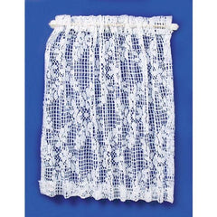 Dollhouse miniature lace curtain.