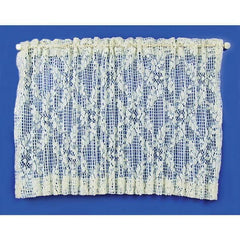 Dollhouse miniature lace picture window curtain.
