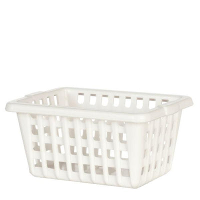 White Dollhouse Miniature Laundry Basket - Little Shop of Miniatures