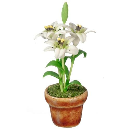 dollhouse miniature lilies in a pot