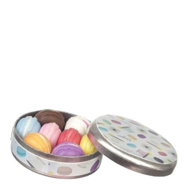 dollhouse miniature macarons in a tin