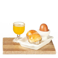 dollhouse miniature muffin orange juice and egg
