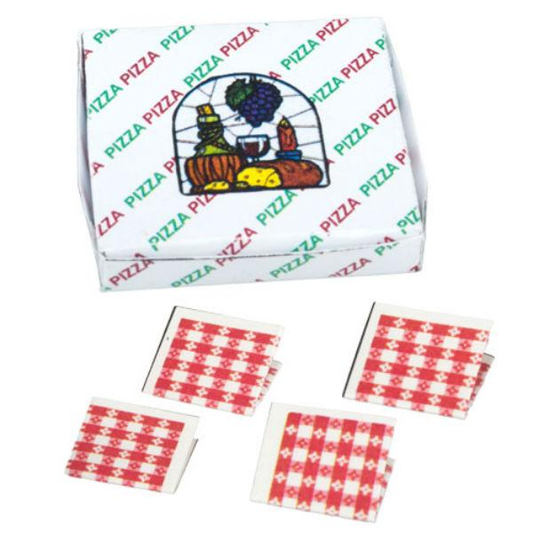 dollhouse miniature pizza box and napkins