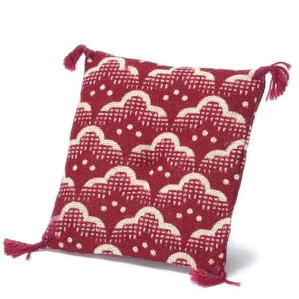 dollhouse miniature red and white pillow